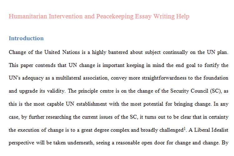 Humanitarian Intervention Peacekeeping Essay Writing Help