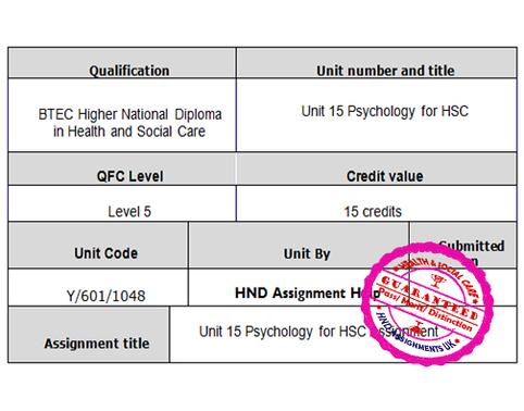 Unit 15 Psychology for HSC Assignment