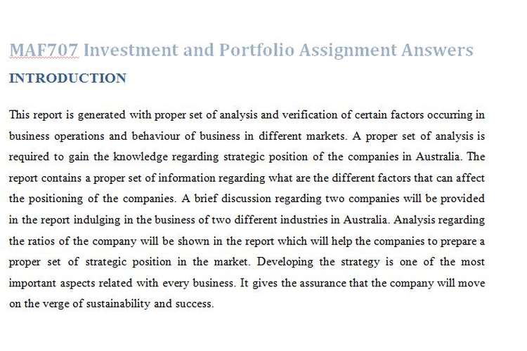 MAF707 Investment Portfolio Assignment Answers