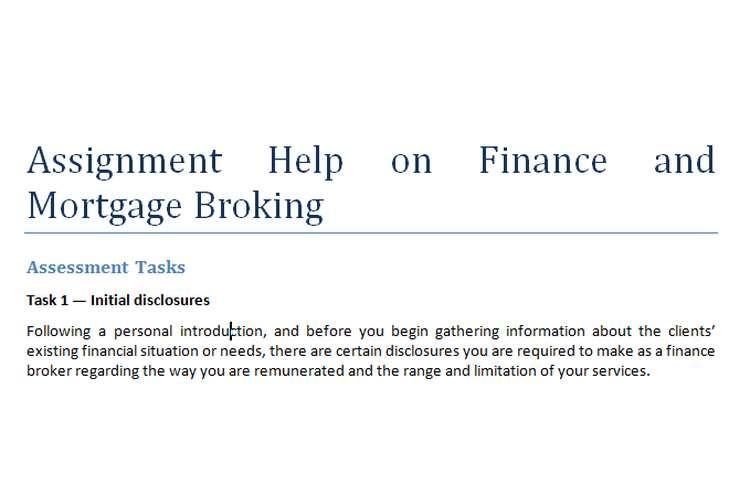Assignment Help on Finance and Mortgage Broking