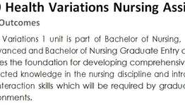 401010 Health Variations Nursing Assignment