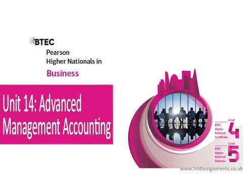 Unit 14 Advanced Management Accounting