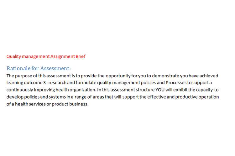 Quality management Assignment Brief