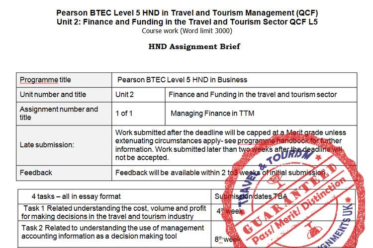 unit finance and funding in travel tourism sector assignment unit 2 finance and funding in travel tourism assignment brief