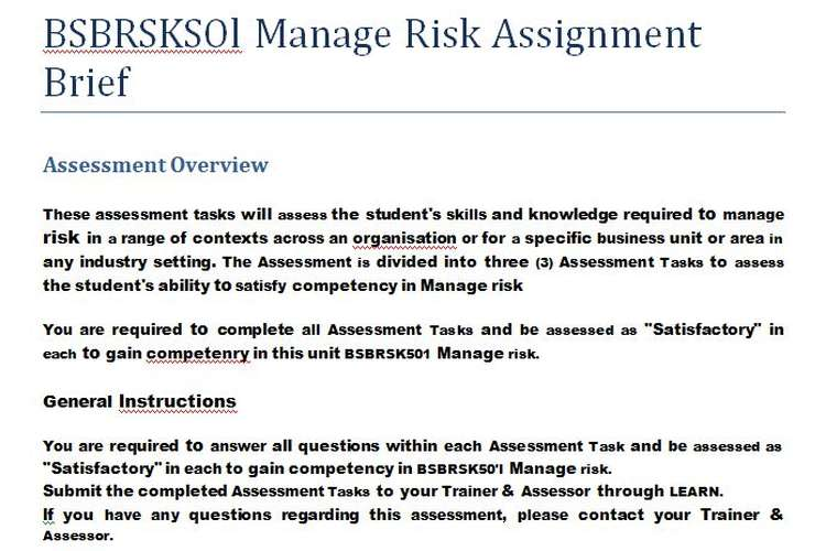 BSBRSKSOl Manage Risk Assignment Brief
