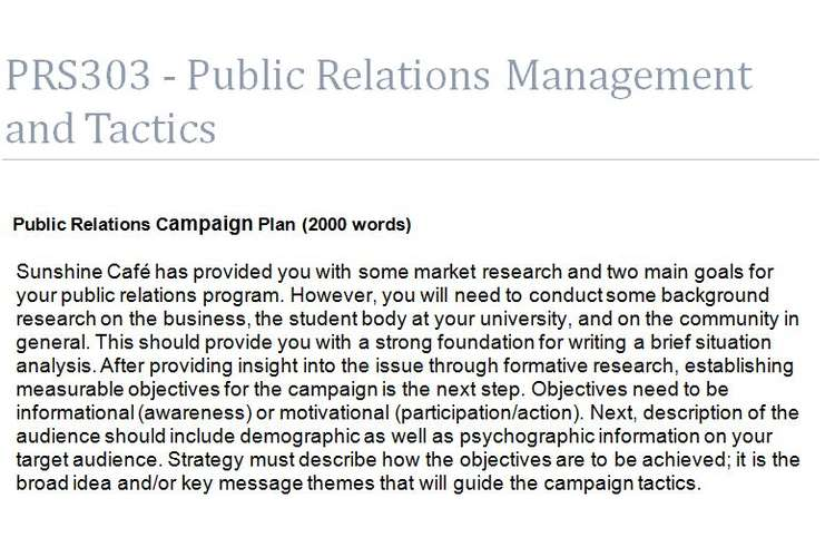 PRS303 Public Relations Management Tactics Assignment