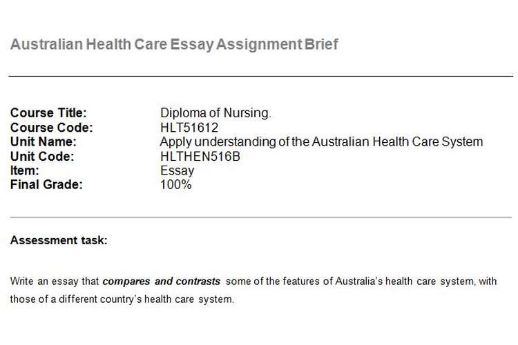 Australian Health Care Essay Assignment Brief