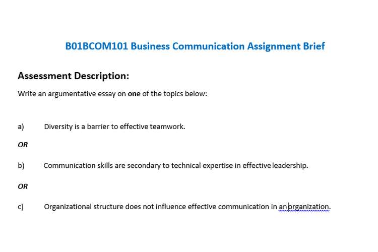 Business Communication Assignment Brief