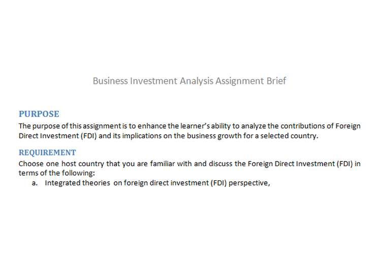 Business Investment Analysis Assignment Brief