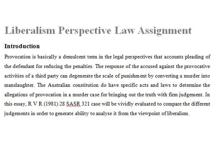 Liberalism Perspective Law Assignment