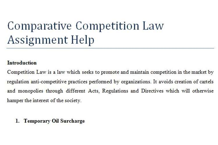 Comparative Competition Law Assignment Help