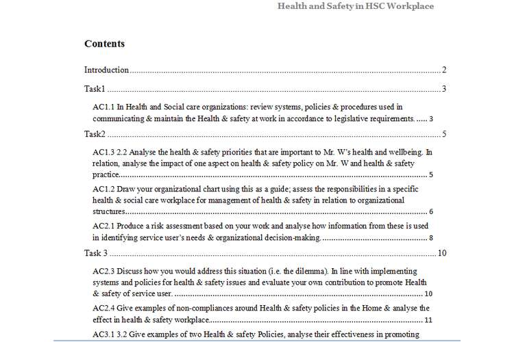 unit 3 health and safety in hsc workplace assignment