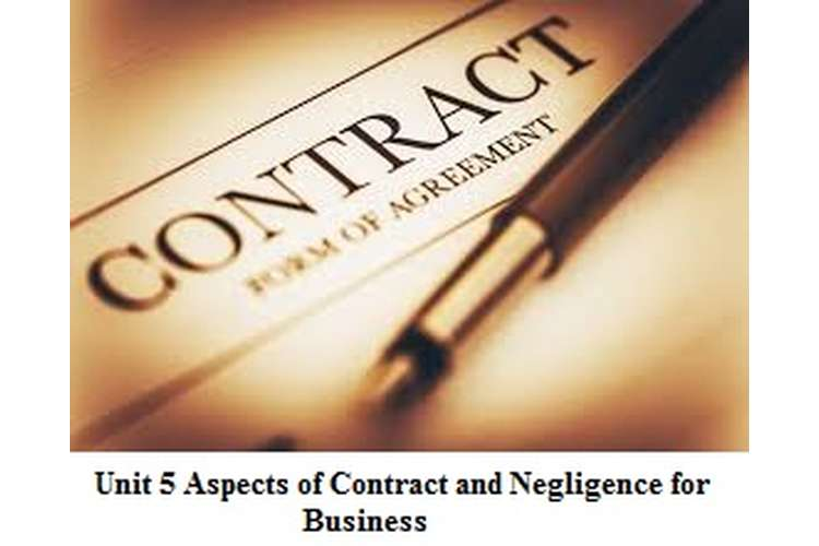 Unit 5 Aspects Contract & Negligence for Business Assignment solution