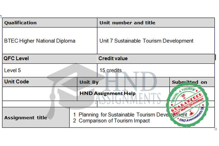 assignment 07 sustainability and development by Sustainable tourism development - assignment and to explain the need for planning sustainable tourism in a developing country or emerged destination of.