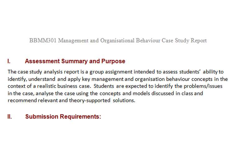 BBMM301 Management Organisational Behaviour Case Study Report