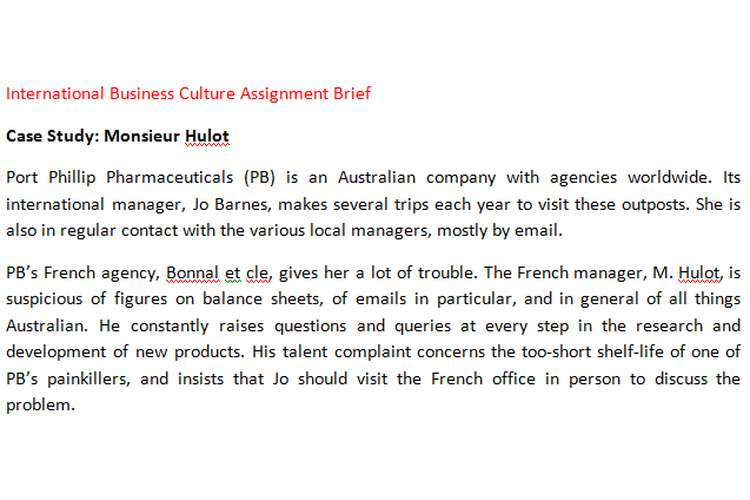 International Business Culture Assignment Brief