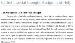Catholic social thought Assignment Help