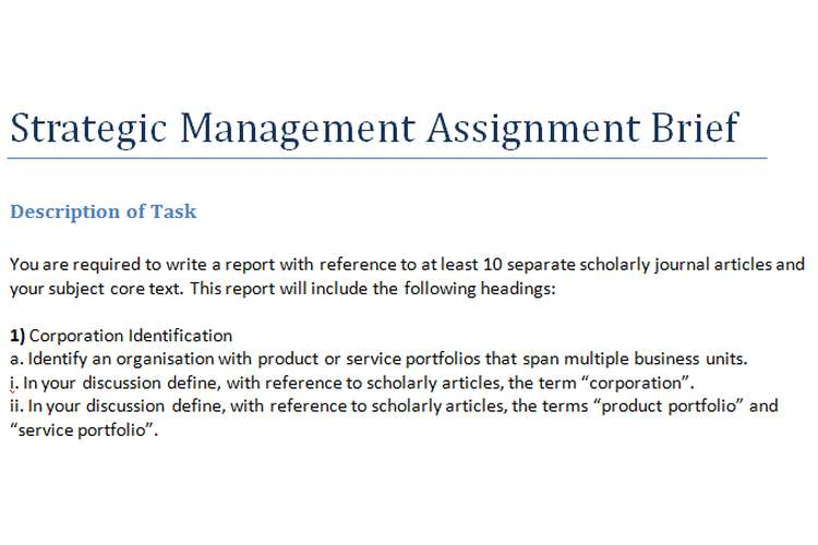 Strategic Management Assignment Brief