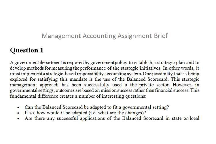 Management Accounting Assignment Brief