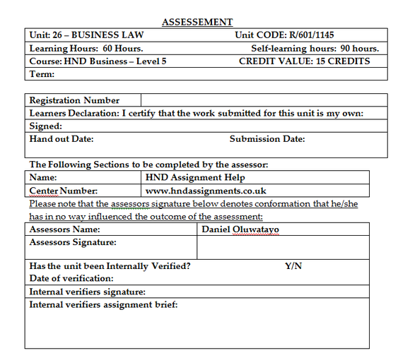 Unit 26 Business Law Assignment Brief