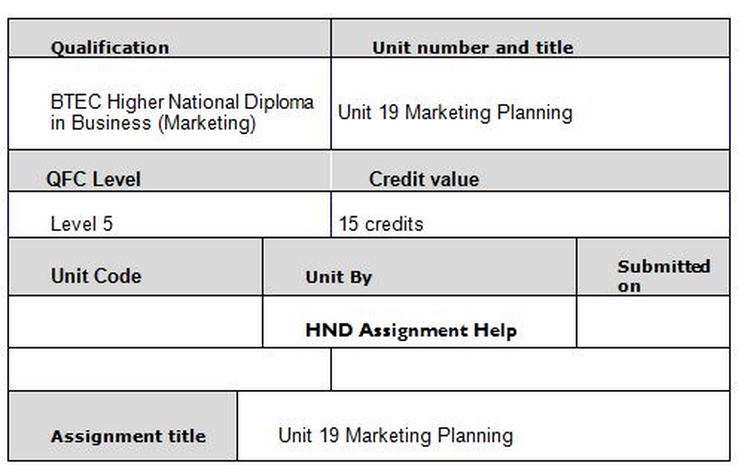 Unit 19 Marketing Planning Assignment