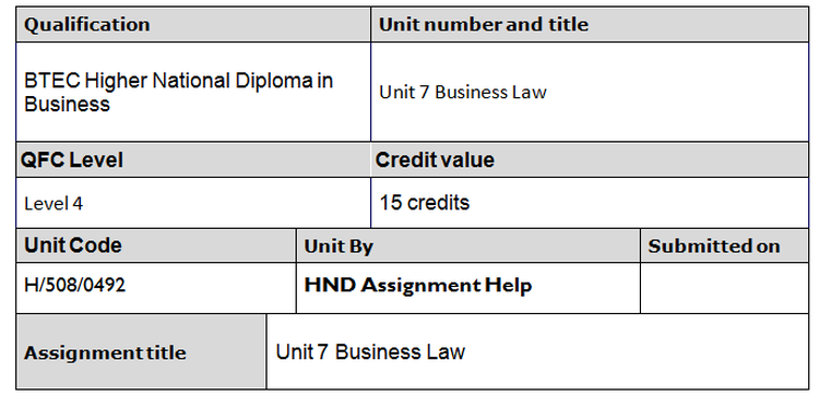Business Law Assignment Brief