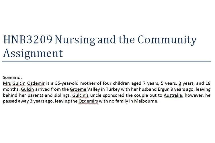 HNB3209 Nursing Community Assignment