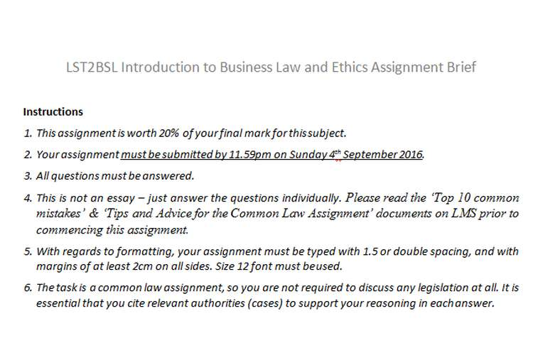 LST2BSL Introduction Business Law Ethics Assignment Brief