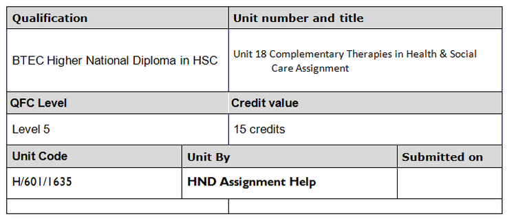 Complementary Therapies in Health & Social Care Assignment