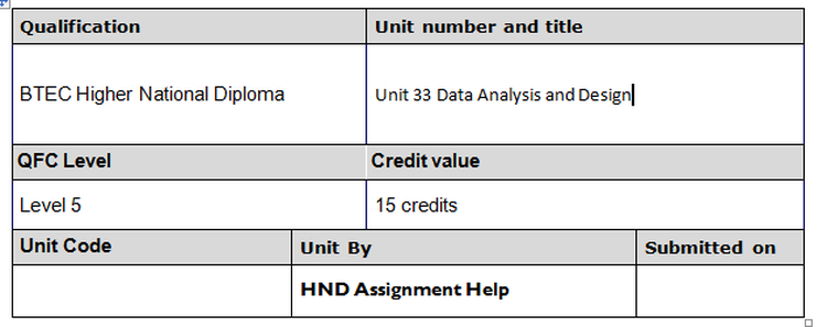 Unit 33 Data Analysis and Design Assignment Brief