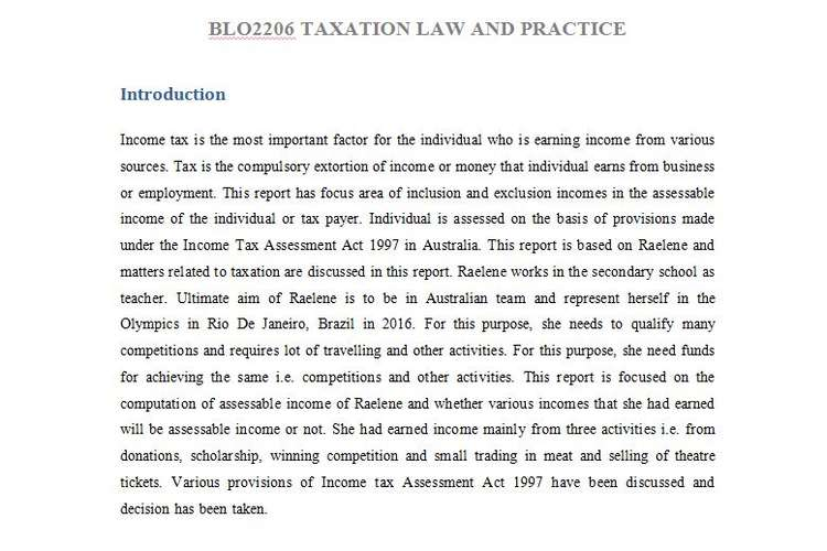 BLO2206 Taxation Law Practice Assignment Answers