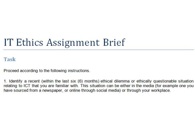 IT Ethics Assignment Brief