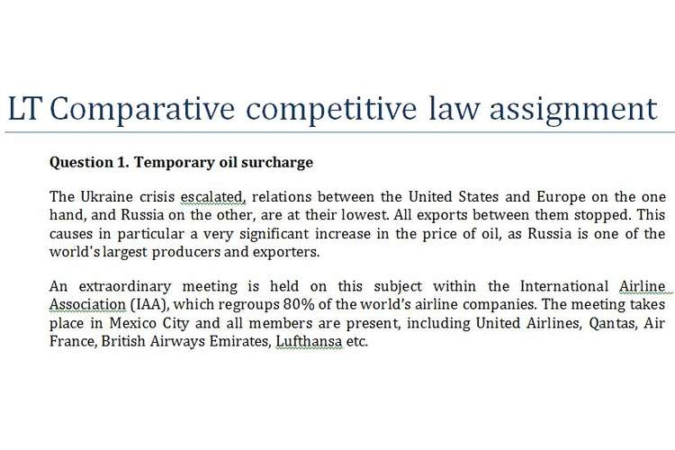 LT Comparative Competitive Law Assignment
