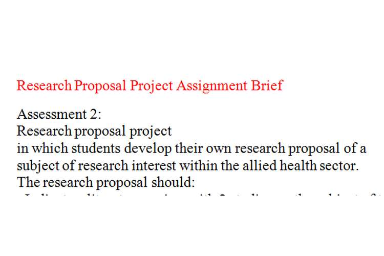 Research Proposal Project Assignment Brief