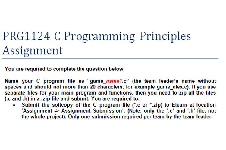 PRG1124 C Programming Principles Assignment