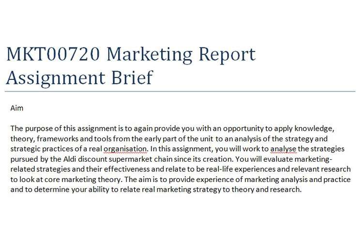 MKT00720 Marketing Report Assignment Brief