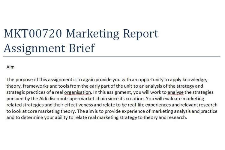 MKT00720 Marketing Report Assignment Brief