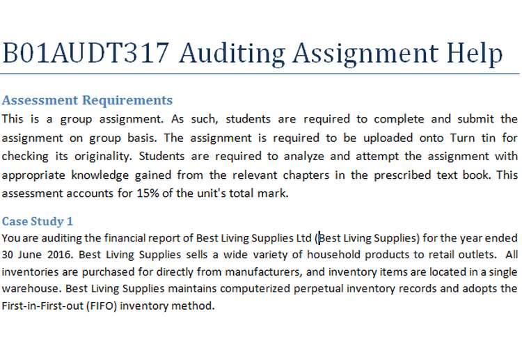 B01AUDT317 Auditing Assignment Help