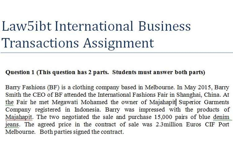Law5ibt International Business Transactions Assignment