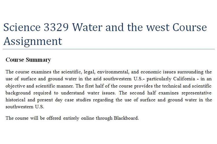 Science 3329 Water west Course Assignment