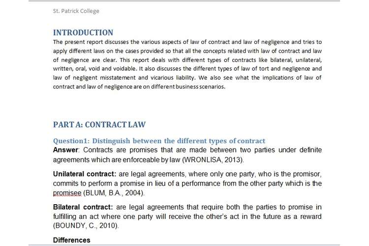 Unit 5 Aspects of Contract Negligence Assignment