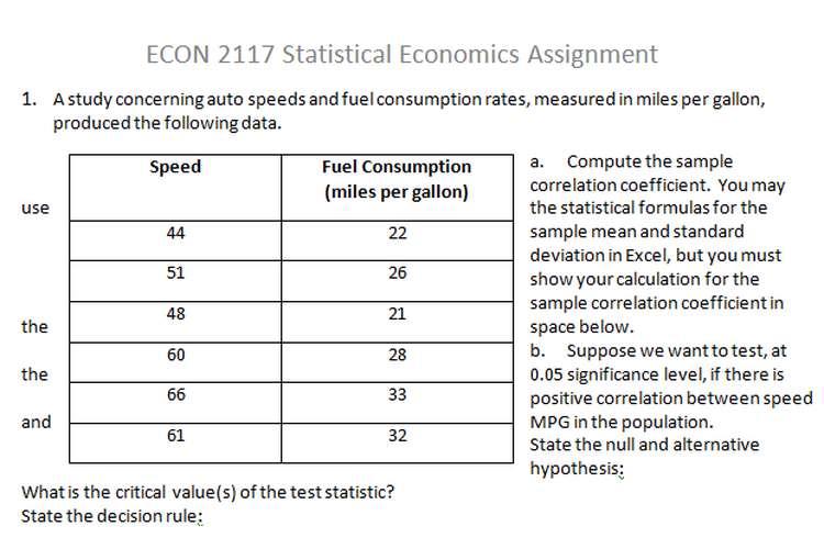 ECON 2117 Statistical Economics Assignment