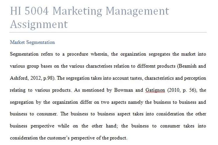 HI 5004 Marketing Management Assignment