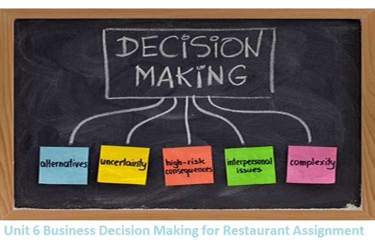 Unit 6 Business Decision Making for Restaurant Assignment