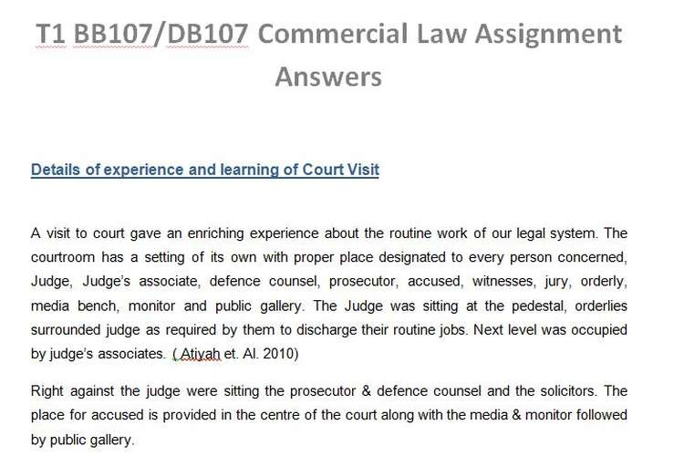 T1 BB107/DB107 Commercial Law Assignment Answers