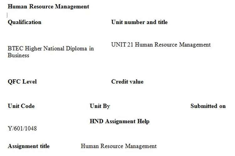 HR Management Assignment Brief
