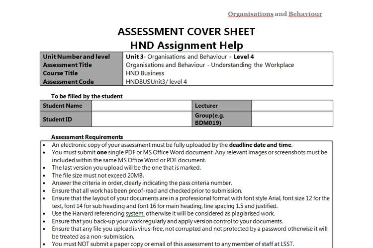 Unit 3 Organisations and Behaviour Sample Assignment - KBR