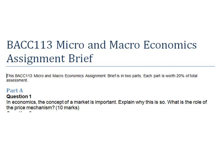 BACC113 Micro and Macro Economics Assignment Brief