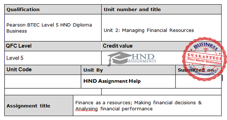 Managing Financial Resources Assignment Brief