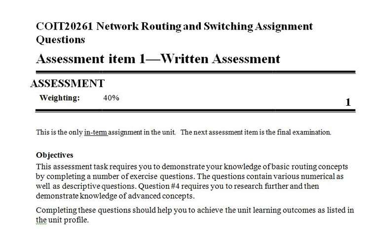 COIT20261 Network Routing Switching Assignment Questions